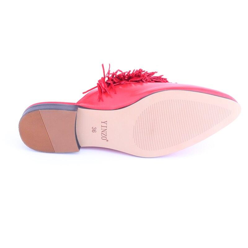 En Red Chaussures 2018 Appartements Sandales blue Glissement Bout Pointu Les Pantoufles Gland Mouton Femmes mei Diapositives Cuir Peau Véritable Yinzo Sur Femme Red De qzfgS7w