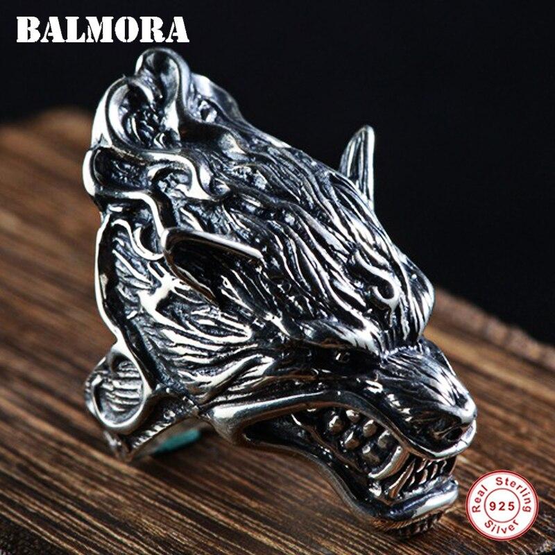 BALMORA 100% réel 925 argent Sterling tête de loup anneaux pour hommes cadeau Vintage Thai argent Punk anneau bijoux animaux Anillos SY20064
