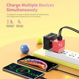 """Image 2 - רוק USB מטען האיחוד האירופי ארה""""ב תקע מטען מהיר עבור iPhone X 8 7 iPad 2/4 יציאות נייד אוניברסלי נסיעות מטען עבור סמסונג Huawei"""