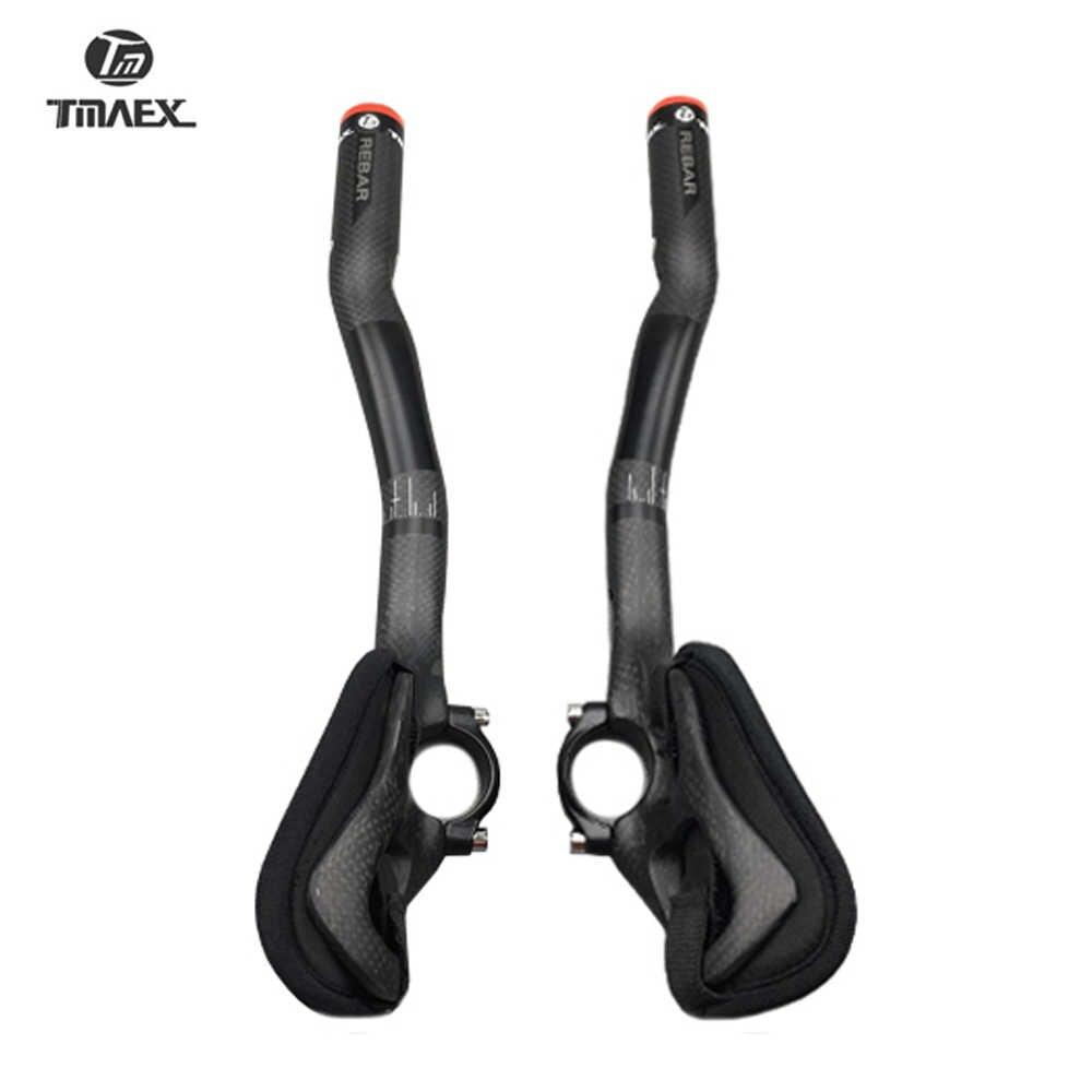 Tmaex preto terminado matte resto barra guiador tt completo de carbono guiador da bicicleta estrada tt barra peças da bicicleta carbono 31.8mm ultra leve