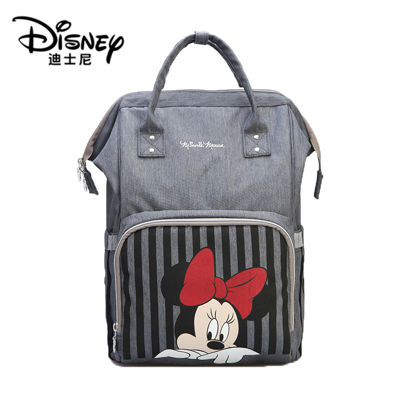 Disney Diaper Bag Backpack Bolsa Maternidade Waterproof Stroller Bag Usb Baby Bottle Warmer Mickey Minnie Travel Mummy Backpack