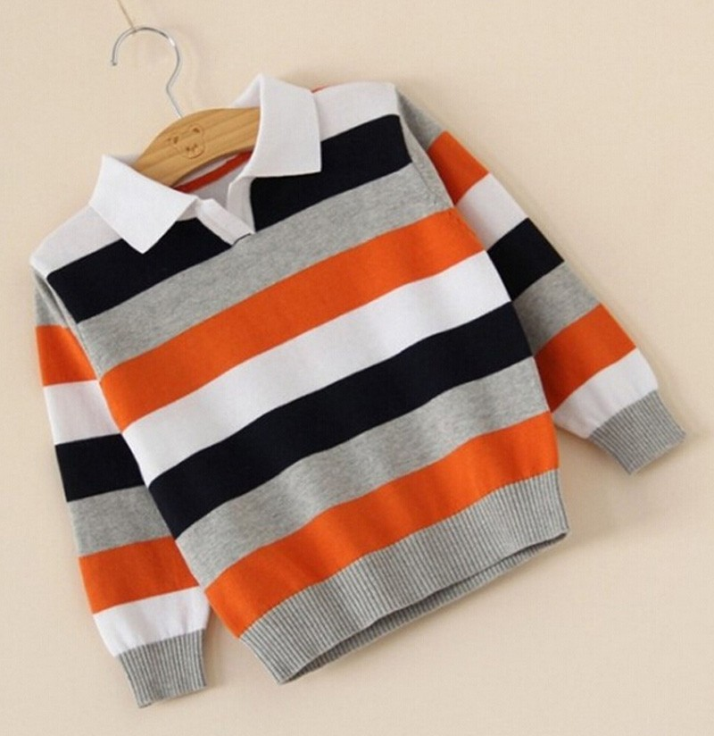 Baby boy sweater Stripe fashion brand Spring Autumn children clothes V-neck designer party kid Casual sweater camiseta infantil (5)