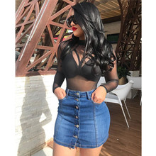 Denim Skirt High Waist A-line Mini skirts Women 2019 Summer Single Button Pockets short Blue Jeans Street Style Saia