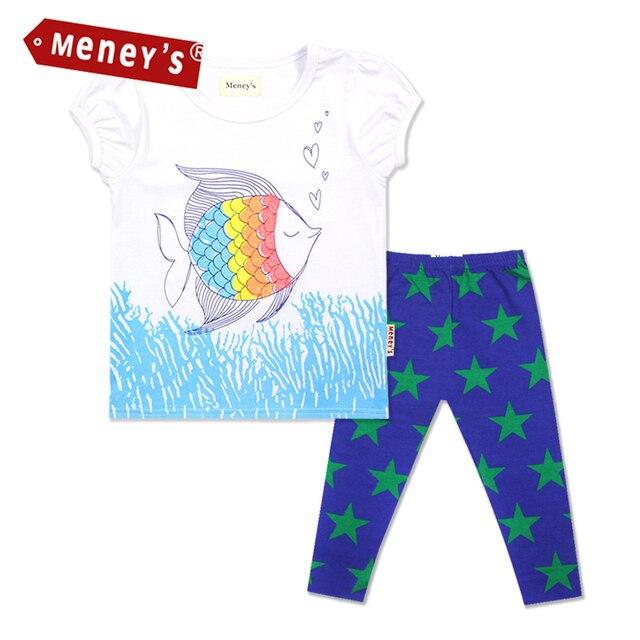 Meney Camisetas de Verano Conjuntos de Ropa para Bebés de Peces Tropicales  Tops Niños Estrellas Pantalones 85c3d0fecc8