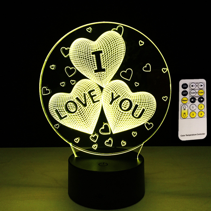Remote Touch I LOVE YOU Colorful 3D Hologram Lamp USB Acrylic Lights 3D LED Lamp Nightlight for Wedding Party Lover Gift