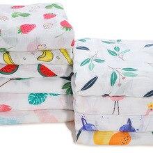 120*120 см высококачественные подгузники из муслина, бамбуковые хлопковые детские одеяла для новорожденных, муслиновые пеленки с рисунком животных, Детские Банные полотенца