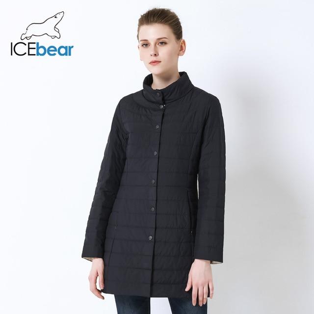 ICEbear 2019 יחיד חזה כיסי צד עם סגור רוכסן אביב מעיל נשים מעיל כותנה מרופדת Slim מעיל 17G298D