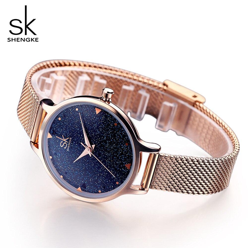 SHENGKE Elegant Women Quartz font b Watch b font Ladies Rose Gold Stainless Steel Band Wrist