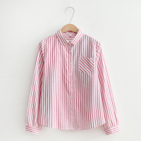 Women Blue Striped Top 2017 Spring Autumn Tops Long Sleeve Casual Blouse Red Strip Clothing Fashion