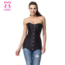Black Steel Boned Long Corset Waist Trainer Korsett For Women Sexy Espartilhos E Corpetes Corsets and Bustiers Gothic Clothing