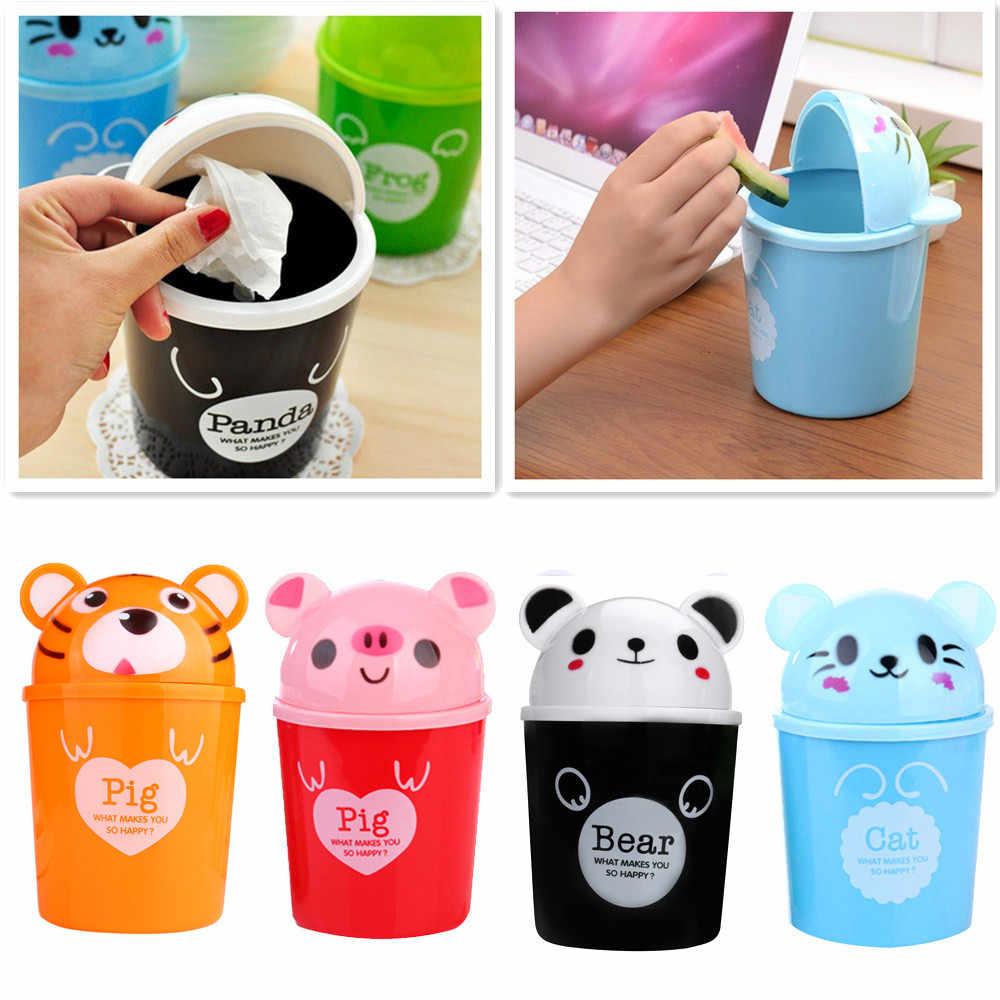 Trompete Desktops Mini Criativa Cozinha Coberto Sala Tipo Desktop Dustbin Lata de lixo do Lixo Pode Rolar Cobertura # YL