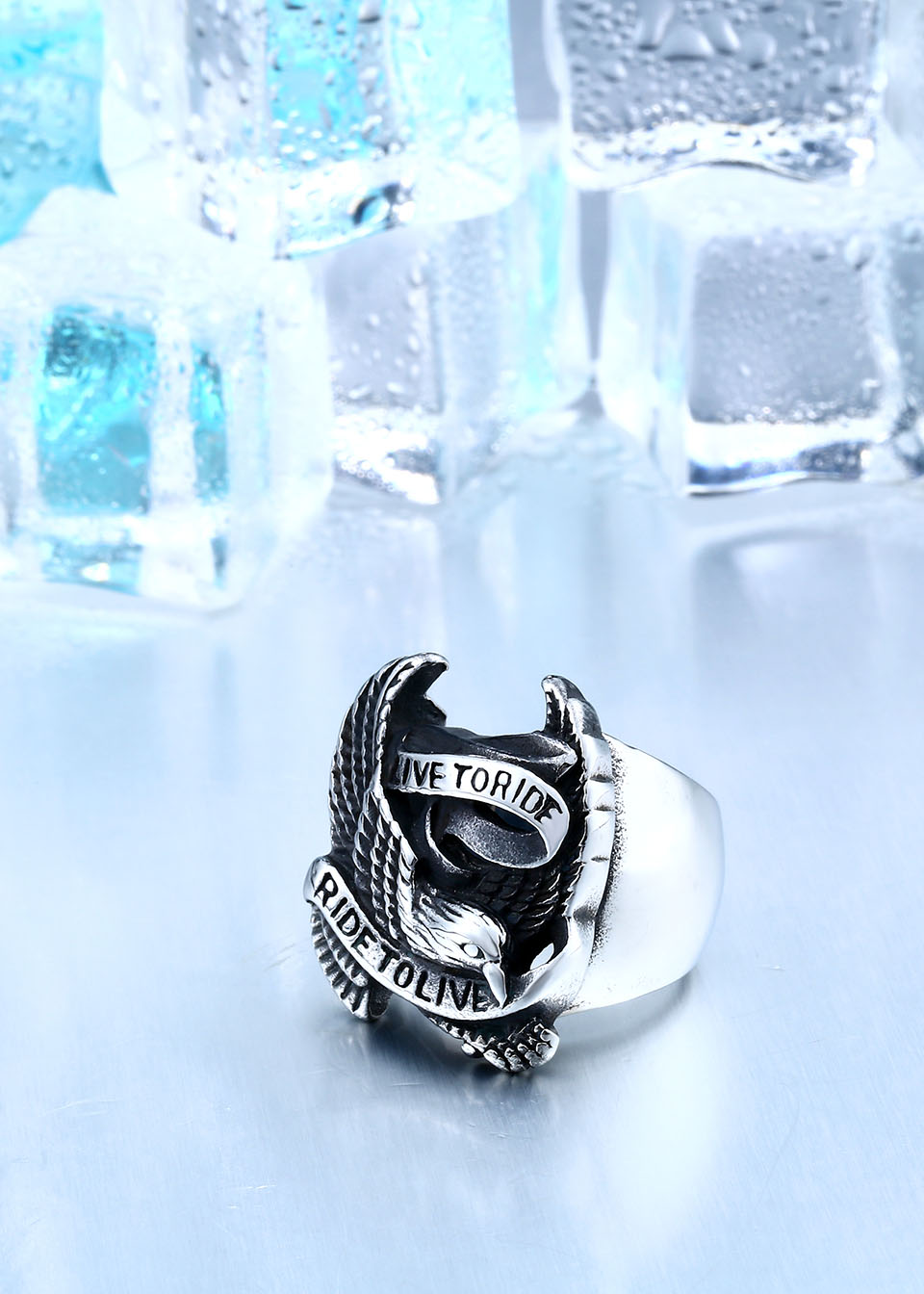 Stainless Steel Eagle Ring In Black And Silver 1