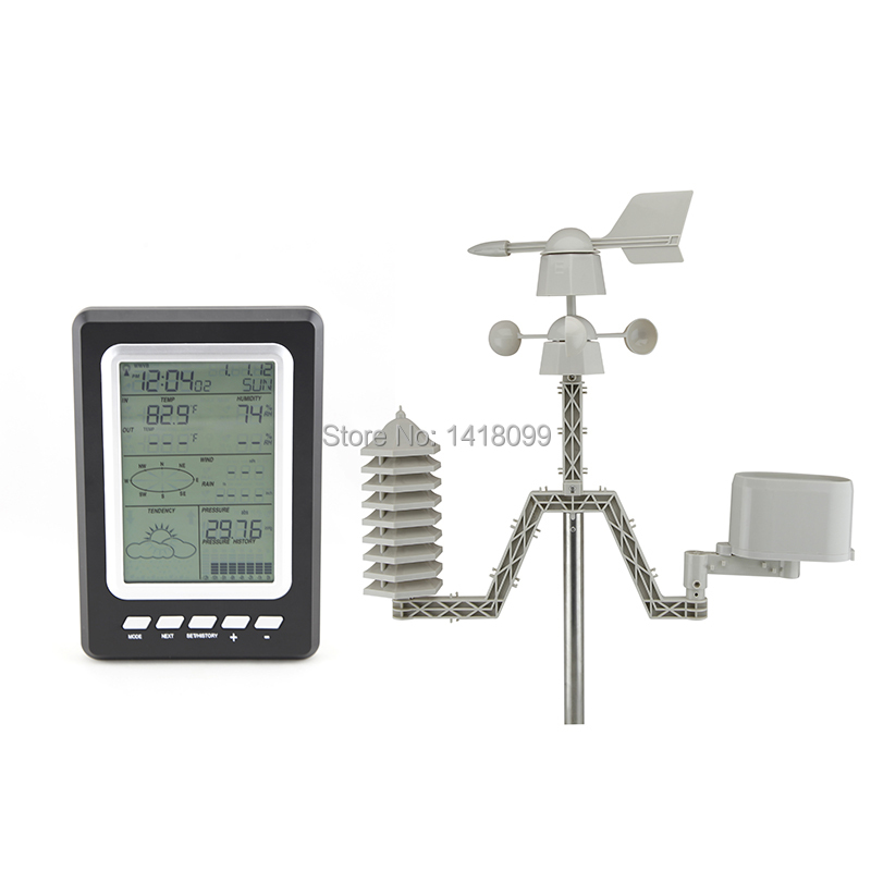 Professional 433mhz Temperature Humidity Rain Pressure Wind Speed Wind Direction Wireless Weather Station Solar Powered WS1031 professional weather station windspeed winddirection rainmeter pressure temperature humidity uv with solarchargefunction outdoor