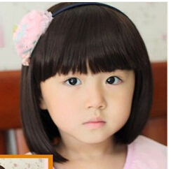 black color short hair for baby girls' sweet wig children