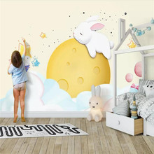 Custom wallpaper rabbit sleeping cute children background wall high-grade waterproof material