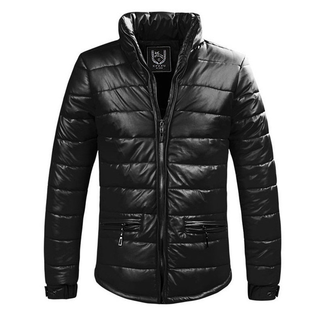 Winter Man Casual Cotton PU Leather down Jacket  Jaqueta Masculinas Inverno Couro Jacket Men Outdoors Men Coat