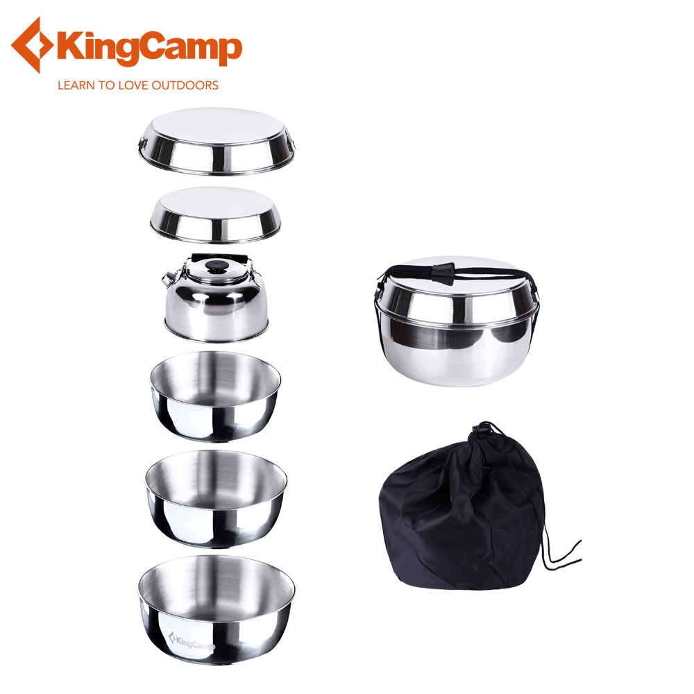ФОТО KingCamp 8pcs Camping Stainless Steel Cookware Set for Hiking & Trekking Includes Pots Gripper Kettle Frying Pan Carry Bag