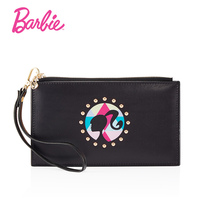 Barbie PU Leather Wallet High Capacity Fashion Rivet Women Wallets Female Zipper Ladies Coin Purse