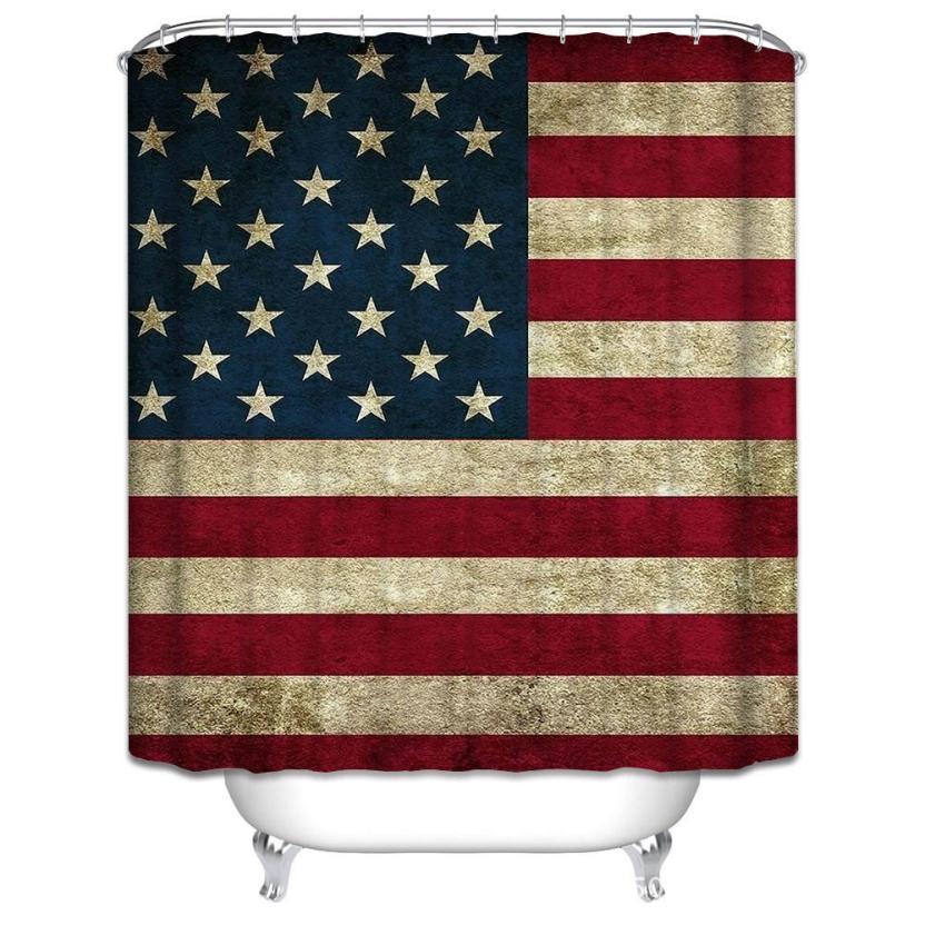 2017 Retro American Flag Pattern Custom Shower Curtain Polyester Fabric 70 x70 Inch 613