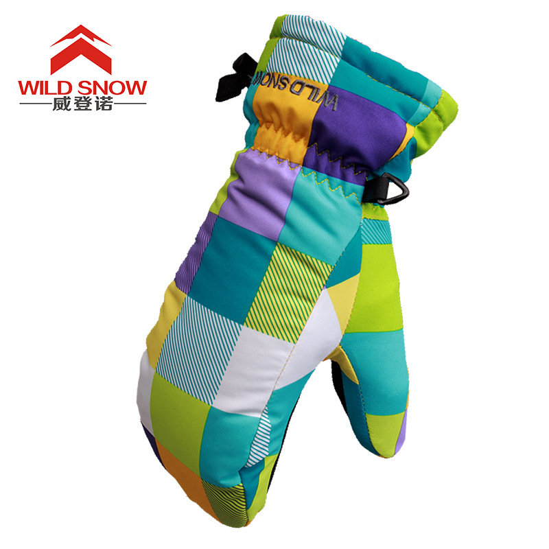 Winter Women Ski Gloves Windproof Waterproof Cute Skiing Warm Glove Mittens For Child&Teenager Suitable For Palm Width 5.5-7.5cm