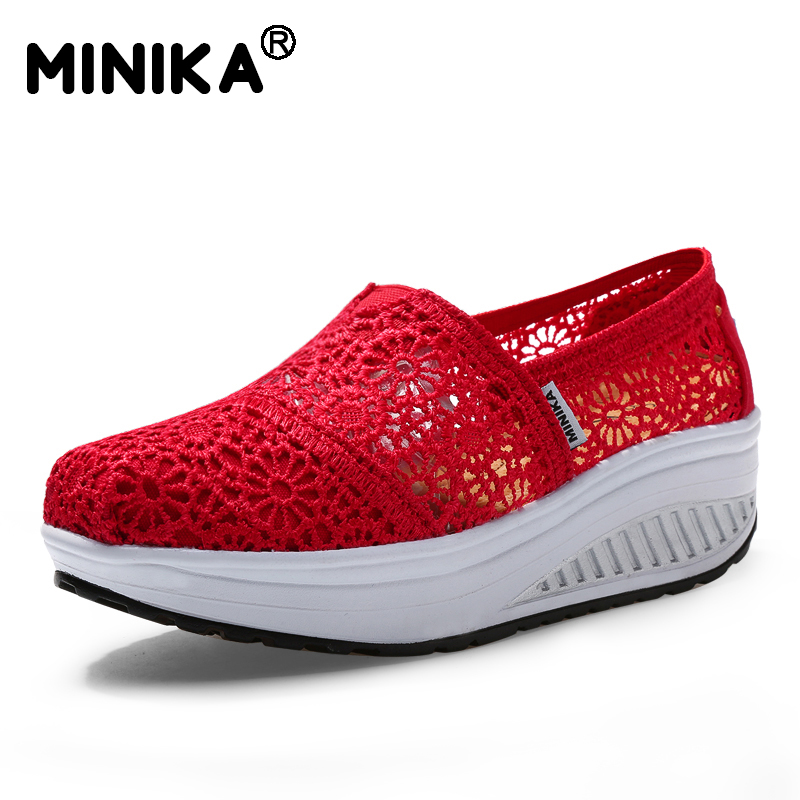 Minika Summer Hollow Lace Breathable Massage Platform Casual Women s Shoes Fashion Women Height Increase Wedge