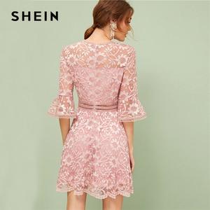 Image 2 - SHEIN vestido de primavera verano de encaje con manga con volantes, traje romántico de color rosa liso elástico con cintura alta, 2019