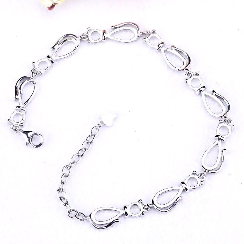 Bracelet argent Sterling 925 couleur or blanc Bracelet Semi monture 6x8mm Cabochon poire ambre opale bijoux fins réglage bricolage pierre