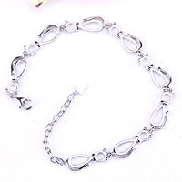 Sterling Silver 925 Bracelet White Gold Color Semi Mount Bracelet 6x8mm Pear Cabochon Amber Opal Fine Jewelry Setting DIY Stone