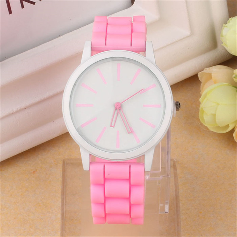 Luxury Women Watch Silicone Rubber Unisex Quartz Analog Sports Women Fashion Wrist Hot Pink For Lovely Girls #4m14 (11)
