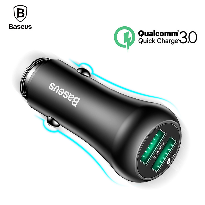 Baseus Quick Charge QC 3.0 Car Charger For iPhone Samsung Xiaomi Phone Dual USB Charger Fast Charging Charger 5V 3A Car-Charger