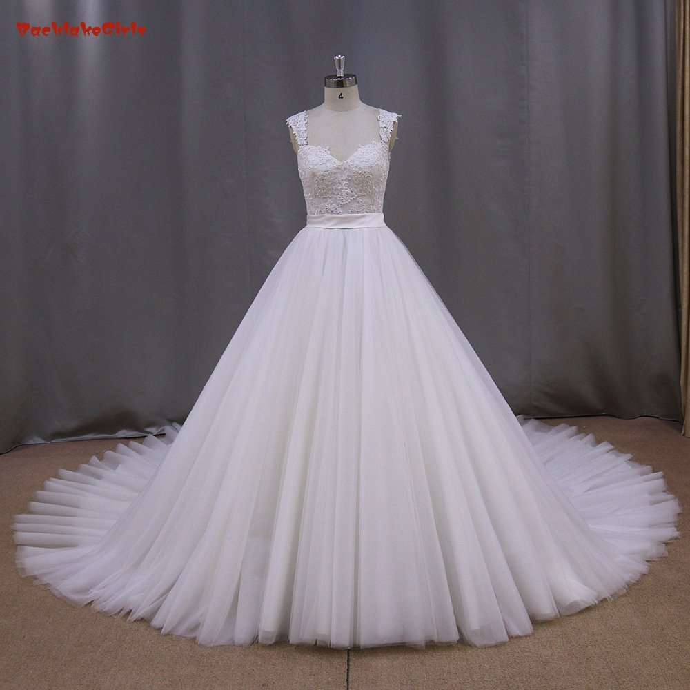 2016 High Quality Elegant A Line Sweetheart Lace Appliques Tulle Cap Sleeve Sleeve font b Bridal