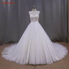 2016 High Quality Elegant A-Line Sweetheart  Lace Appliques Tulle Cap Sleeve Sleeve Bridal Gown  YIYI Wedding Dress WD0037