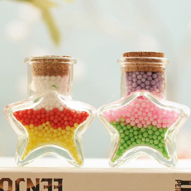 3 Colors Star Figurine Cute Handmade Crystal Wish Bottle Crafts Home