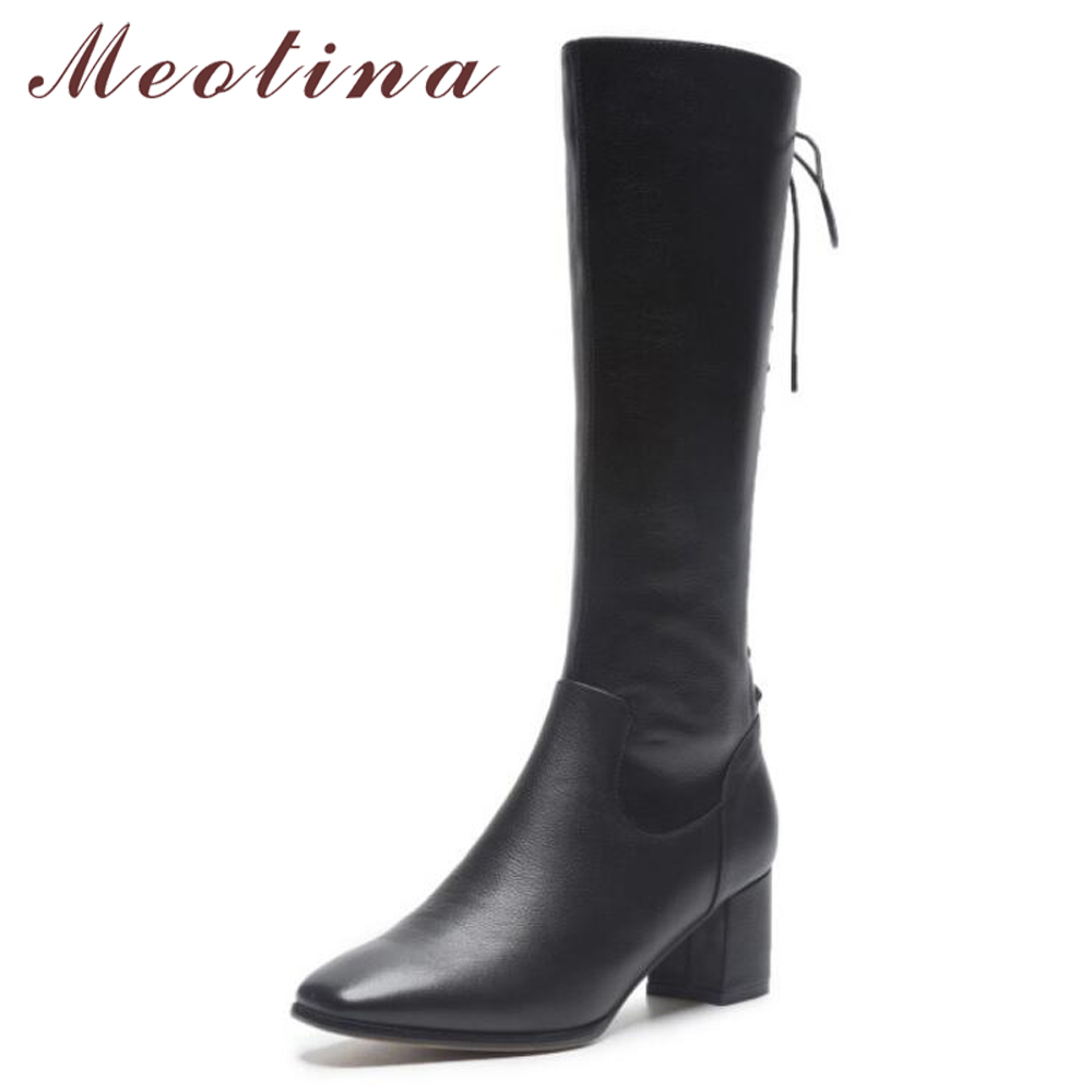 Meotina Winter Knee High Boots Women Lace Up Square Heel Riding Boots Zipper Square Toe Long Shoes Brown Black Size 34-39