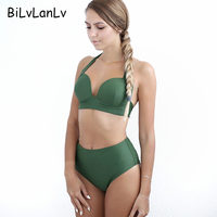 BiLvLanLv Women Push Up Bikini Halter Solid Biquini Swimsuit High Waist Beach Wear Bathing Suit Female