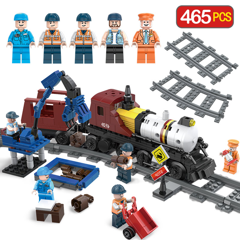 Engineering Train Building Blocks Compatibe LegoINGLYS City Track Train Station Architecture Educational Toy for Children Gift 196pcs building blocks urban engineering team excavator modeling design