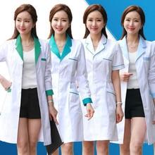 Медицинская одежда с длинным рукавом, женское медицинское платье, лабораторное пальто, белое пальто, одежда для докторов на лето и весну