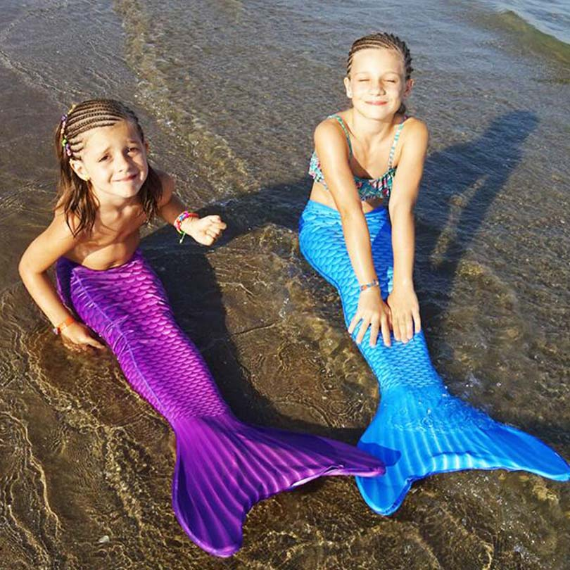 Kids Mermaid Tails With Monofin for Swimming Dress Mermaid Costumes Swimmable Cosplay Girls Clothing Children Mermaid Tail