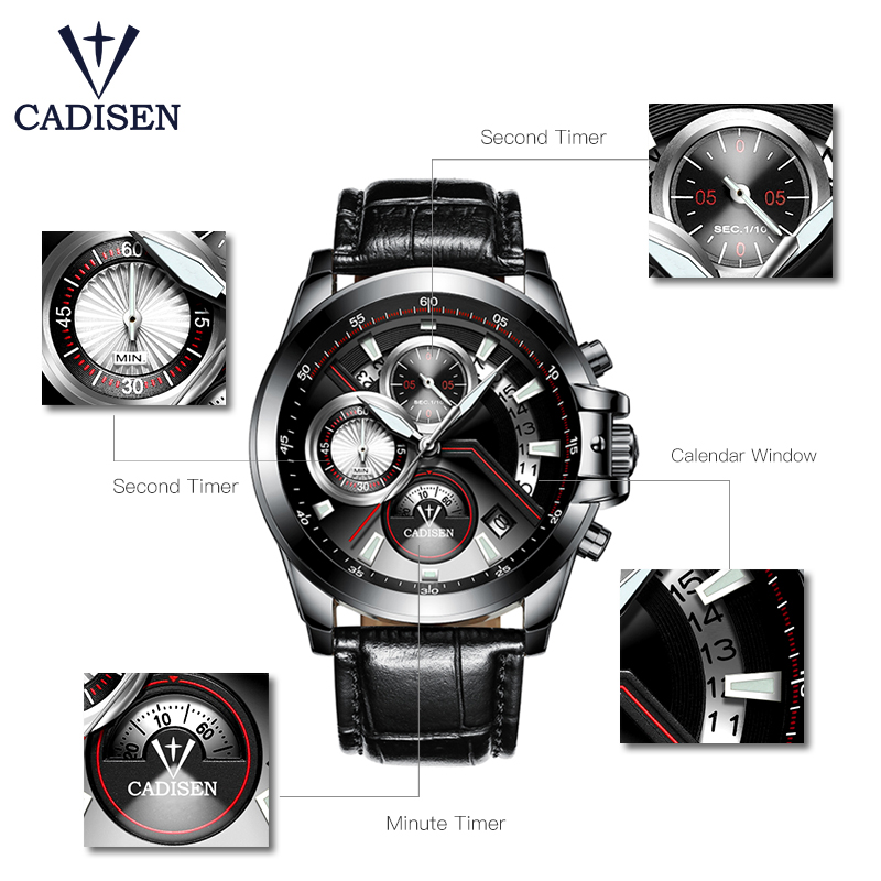 Cadisen Black Stainless Steel Strap Quartz Watches for Business Heren - Herenhorloges - Foto 6