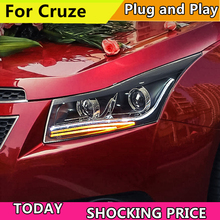цена на Car Style For Chevrolet Cruze 2009-2015 Headlights LED Headlight DRL Double Beam Lens H7 HID Low Beam cruze Front light