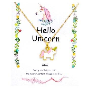 Unicorn Necklace Card Pendant Wihoo Horse Women Pendant Children Girls Cute Fashion Jewelry Gift Kids Enamel Party Gold 1