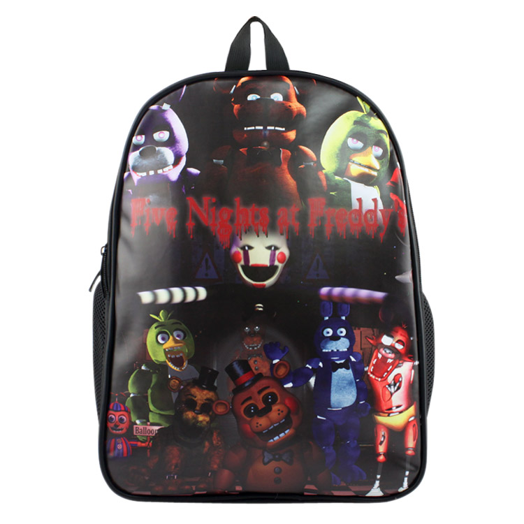 Anime Five Nights at Freddy's PU & Canvas Colorful Laptop Backpack Travel Double-Shoulder Bag School Bag