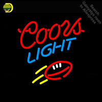 Neon Sign for Coors Light Red Football Neon Bulb sign handcraft neon signboard Decorate Garage neon wall lights anuncio luminos