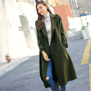 NEW Autumn Winter Coat Women Army Green Cashmere Coat Abrigo Mujer Maxi Woolen Coats Wool Jakcet Long Coats Woolen Parka C2730