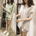 Chiffon suit female summer 2016 new Korean version sweet V-neck t-shirt shirt casual short pants two-piece suit sets mini dress