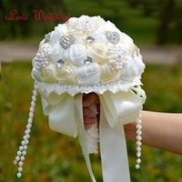 Hot Sang Trọng Wedding Phụ Kiện Brooch Bouquet Ngà Ngọc Trai và Pha Lê Wedding Bouquet Lụa Hoa Cưới Bó Hoa Cưới