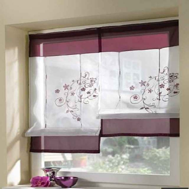 Solid color embroidery tulle Short kitchen curtains for the living room Window Drapes bedroom corina kitchen decoration