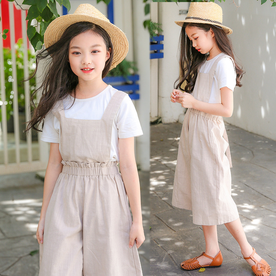 Children Korean Summer Girls Linen Jumpsuit Romper For Kids Baby Girls Wide Leg Pants Overalls Jumpsuit 4 5 6 7 8 9 10 Years 28 elegant blue plunging neck sleeveless wide leg jumpsuit for women