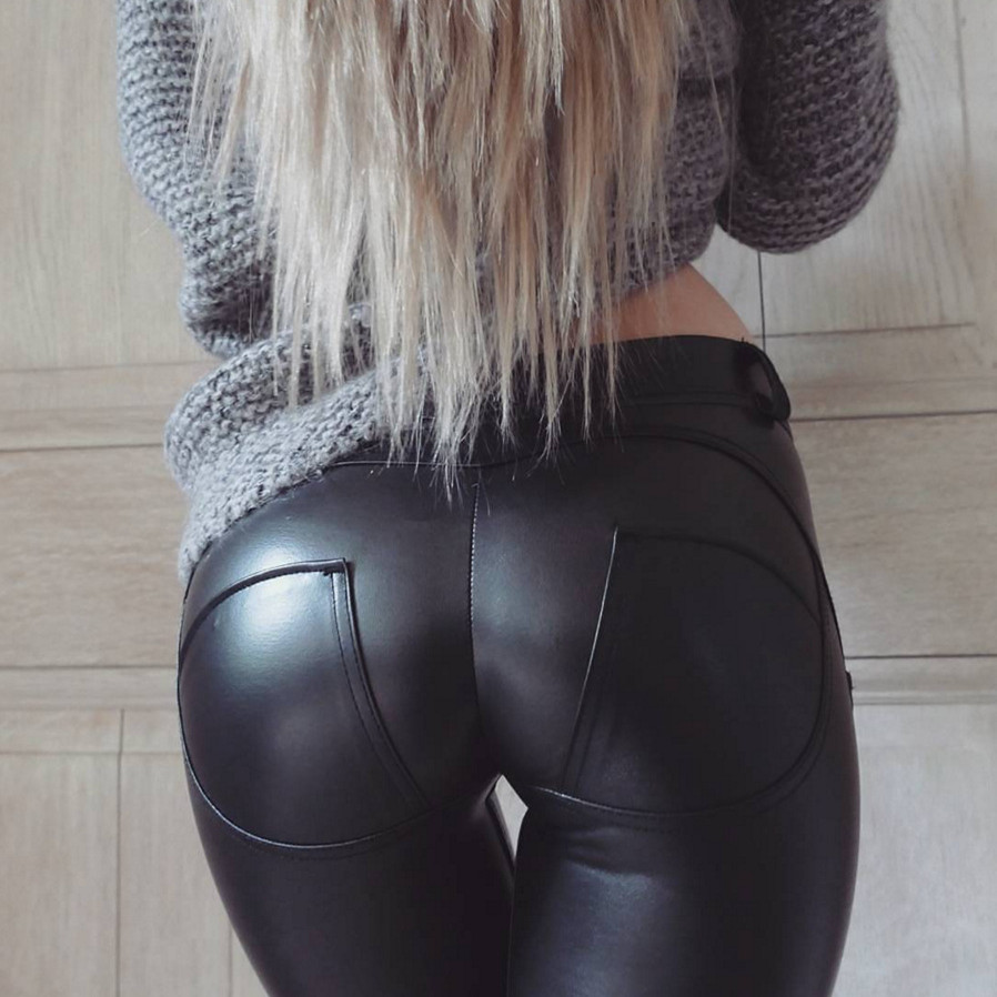 women's new fashion sexy club butt lift black pu leather legging