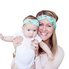 New Flower Headband With Knit Fabric Baby Girl Headband Mommy and me Matching Headbands For Hair Accessories